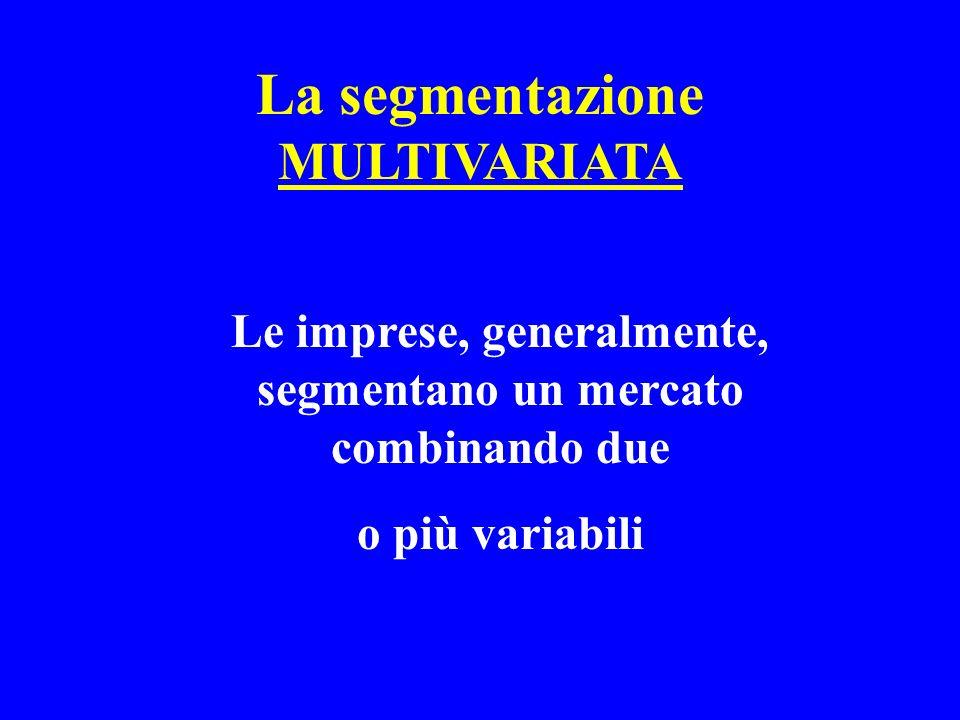 La segmentazione MULTIVARIATA Le imprese, generalmente, segmentano un mercato combinando due o più variabili