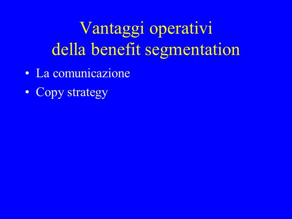 Vantaggi operativi della benefit segmentation La comunicazione Copy strategy
