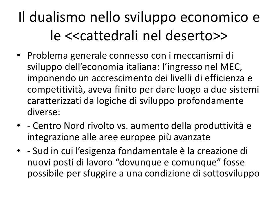 Problema generale connesso con i meccanismi di sviluppo delleconomia italiana: lingresso nel MEC, imponendo un accrescimento dei livelli di efficienza