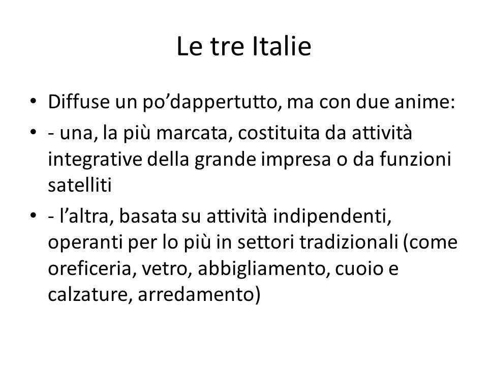 Le tre Italie Diffuse un podappertutto, ma con due anime: - una, la più marcata, costituita da attività integrative della grande impresa o da funzioni