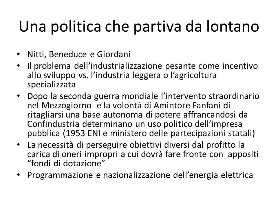 Una politica che partiva da lontano Nitti, Beneduce e Giordani Il problema dellindustrializzazione pesante come incentivo allo sviluppo vs. lindustria