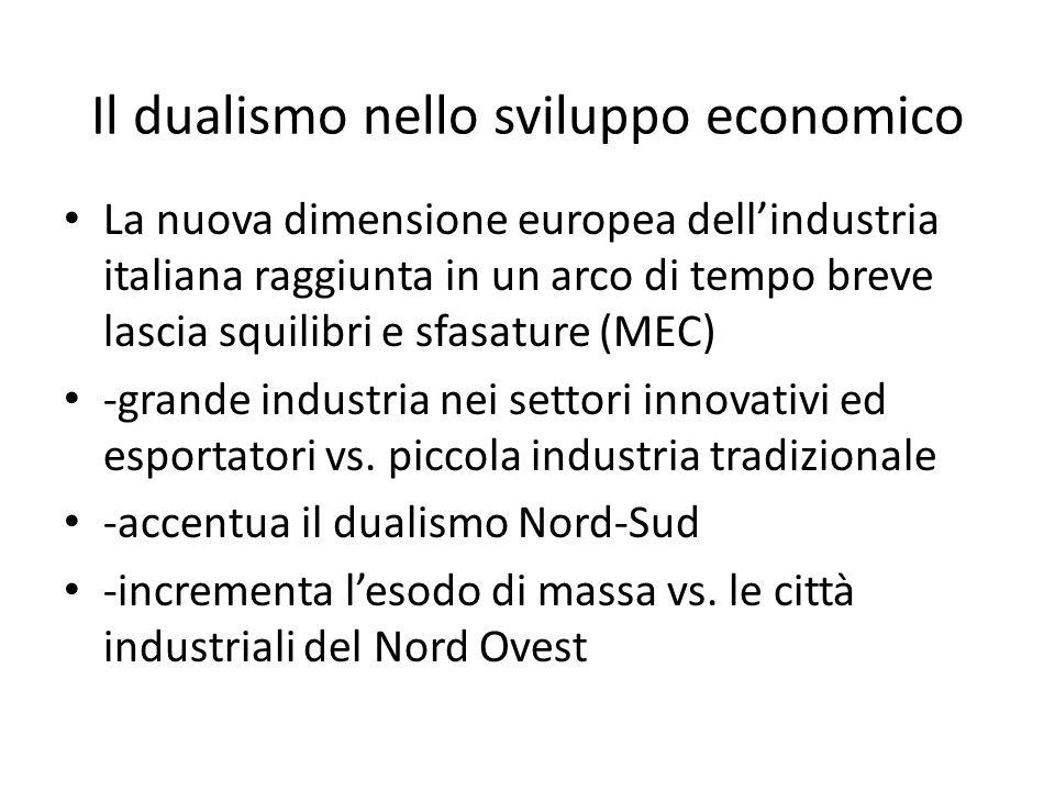 Il dualismo nello sviluppo economico La nuova dimensione europea dellindustria italiana raggiunta in un arco di tempo breve lascia squilibri e sfasatu