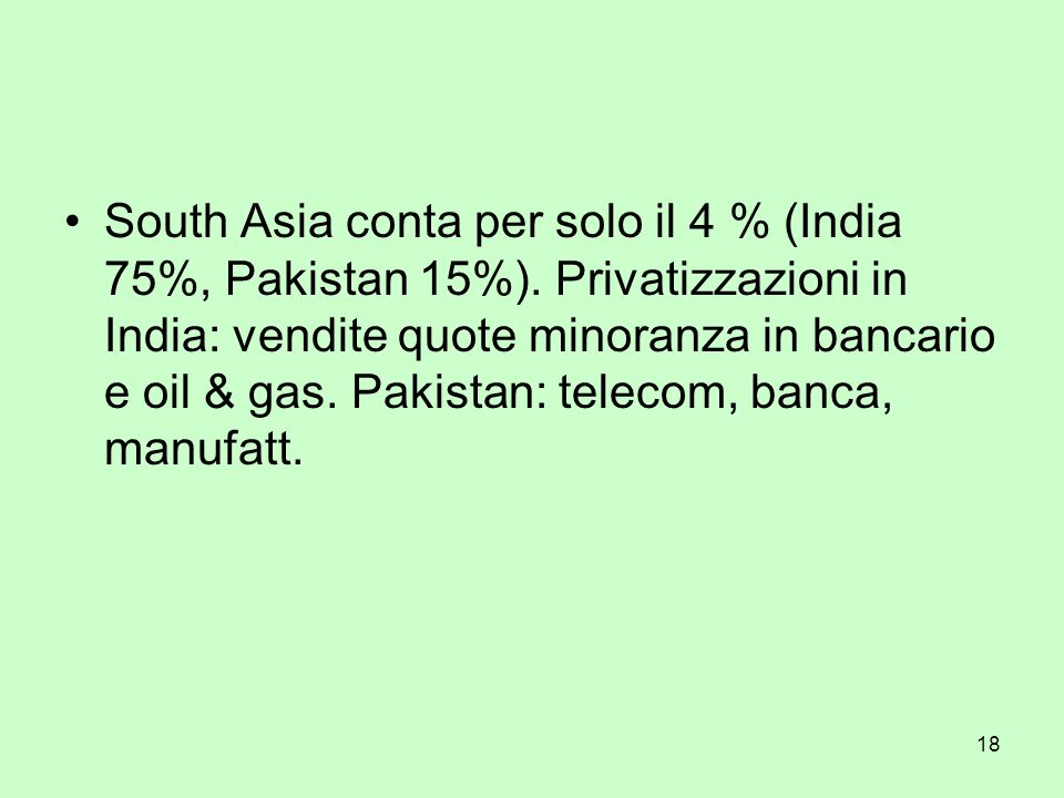 18 South Asia conta per solo il 4 % (India 75%, Pakistan 15%).