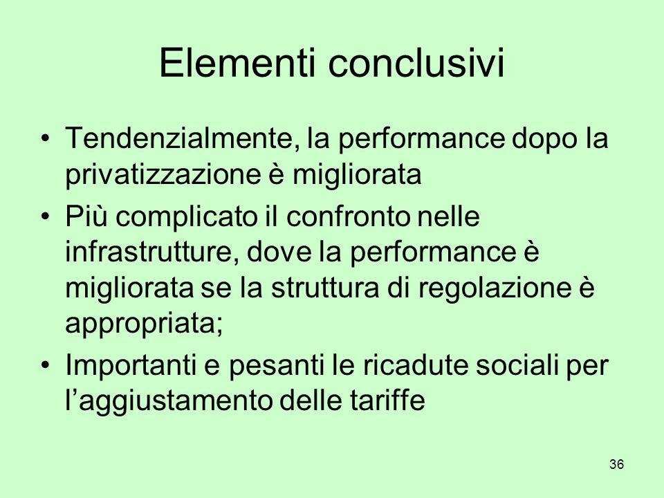 36 Elementi conclusivi Tendenzialmente, la performance dopo la privatizzazione è migliorata Più complicato il confronto nelle infrastrutture, dove la