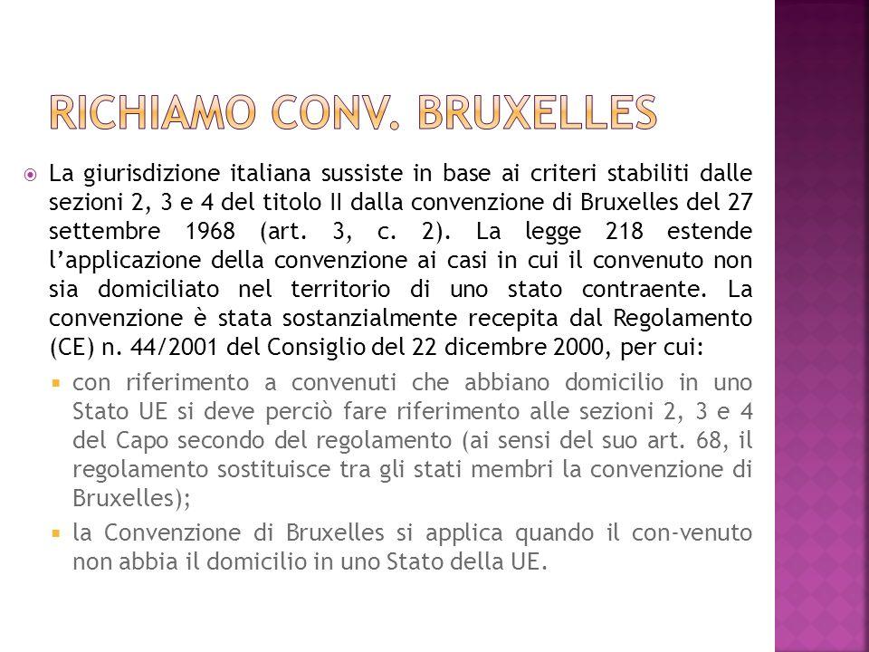 La giurisdizione italiana sussiste in base ai criteri stabiliti dalle sezioni 2, 3 e 4 del titolo II dalla convenzione di Bruxelles del 27 settembre 1