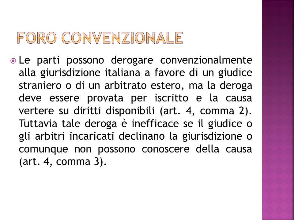 Le parti possono derogare convenzionalmente alla giurisdizione italiana a favore di un giudice straniero o di un arbitrato estero, ma la deroga deve e