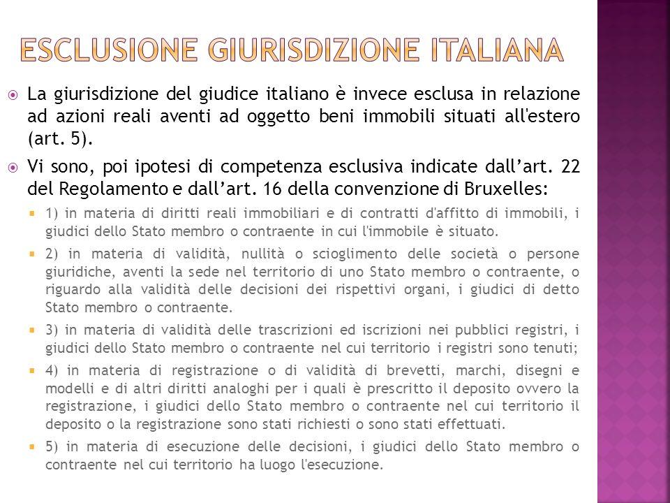 La giurisdizione del giudice italiano è invece esclusa in relazione ad azioni reali aventi ad oggetto beni immobili situati all'estero (art. 5). Vi so
