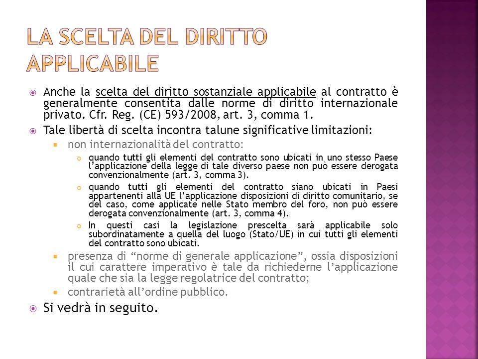 Anche la scelta del diritto sostanziale applicabile al contratto è generalmente consentita dalle norme di diritto internazionale privato. Cfr. Reg. (C