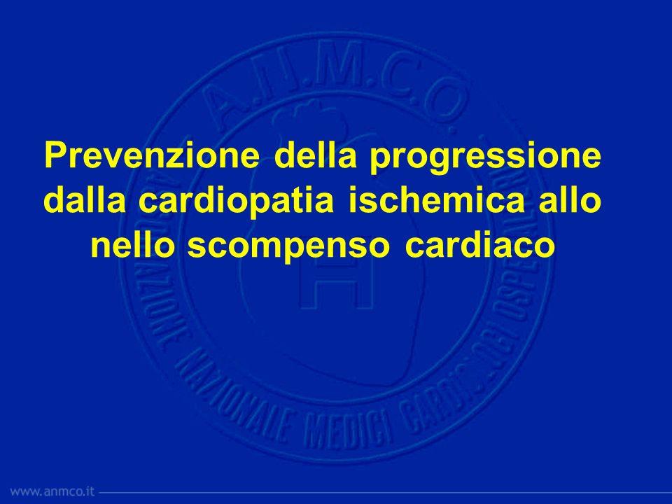 Classe di raccomandazione Livello di evidenza ACE-inibitori nei pz con IMA recente o pregresso, indipendentemente dalla FE IA Beta-bloccanti nei pz con IMA recente indipendentemente dalla FE IA Beta-bloccanti nei pz con IMA pregresso e FE ridotta IB ACE-inibitori nei pz con coronaropatia accertata, indipendentemente dalla storia di IMA IB Misure generali di prevenzione secondaria nella cardiopatia ischemica IA Controllo dellipertensione arteriosa, della dislipidemia e, in generale, dei fattori di rischio IA