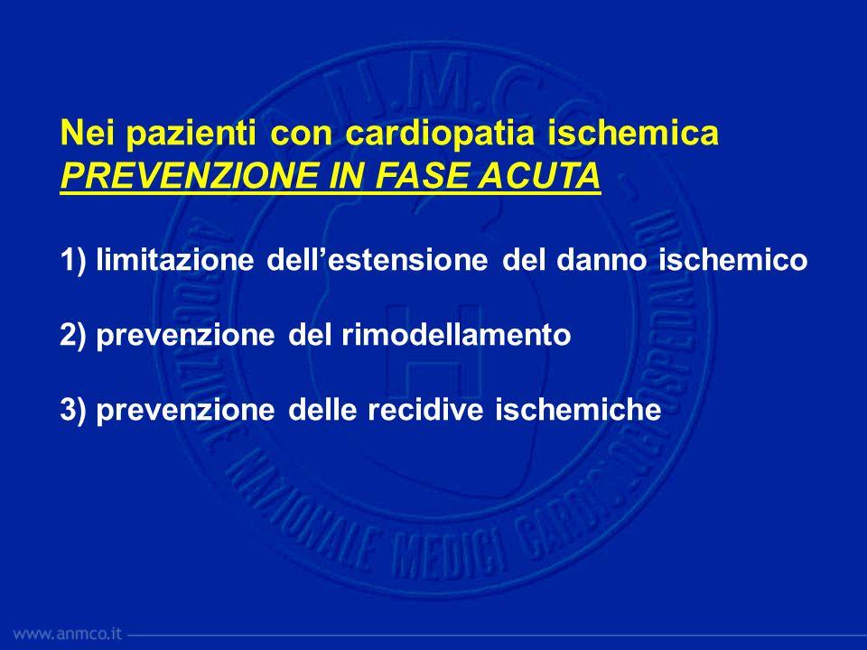 Nei pazienti con cardiopatia ischemica PREVENZIONE IN FASE ACUTA 1) limitazione dellestensione del danno ischemico 2) prevenzione del rimodellamento 3
