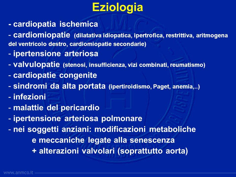 Eziologia - cardiopatia ischemica - cardiomiopatie (dilatativa idiopatica, ipertrofica, restrittiva, aritmogena del ventricolo destro, cardiomiopatie