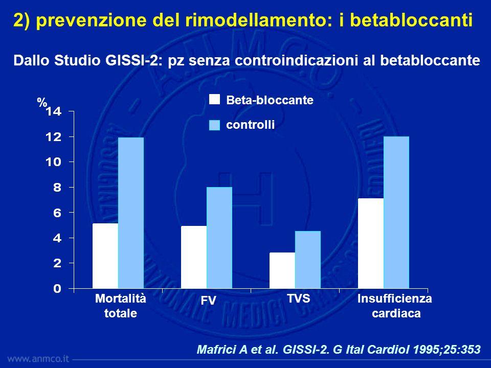 Mafrici A et al. GISSI-2. G Ital Cardiol 1995;25:353 2) prevenzione del rimodellamento: i betabloccanti Dallo Studio GISSI-2: pz senza controindicazio
