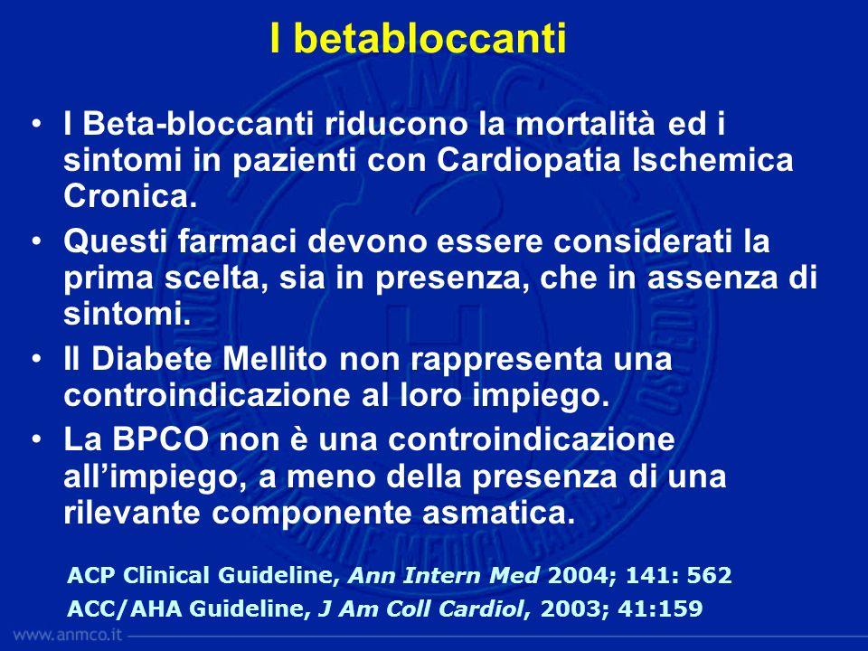 I Beta-bloccanti riducono la mortalità ed i sintomi in pazienti con Cardiopatia Ischemica Cronica. Questi farmaci devono essere considerati la prima s