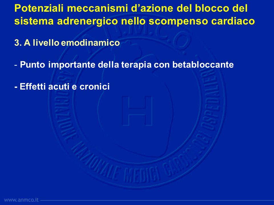 Potenziali meccanismi dazione del blocco del sistema adrenergico nello scompenso cardiaco 3. A livello emodinamico - Punto importante della terapia co
