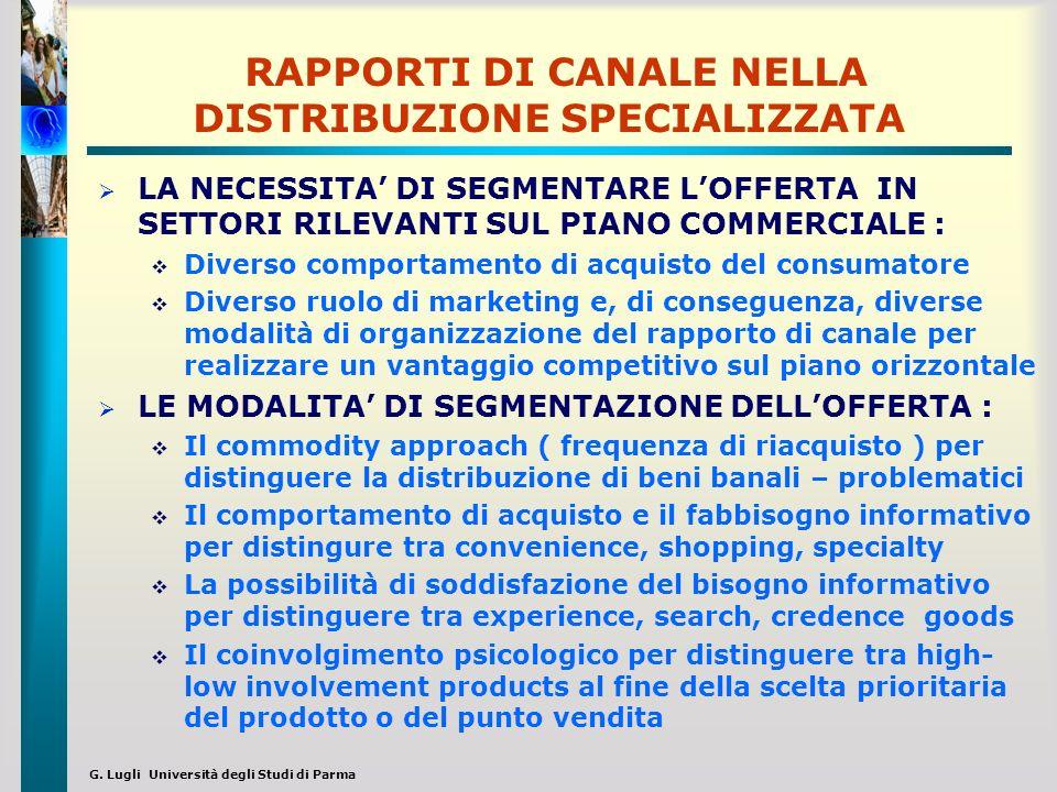 G. Lugli Università degli Studi di Parma RAPPORTI DI CANALE NELLA DISTRIBUZIONE SPECIALIZZATA LA NECESSITA DI SEGMENTARE LOFFERTA IN SETTORI RILEVANTI