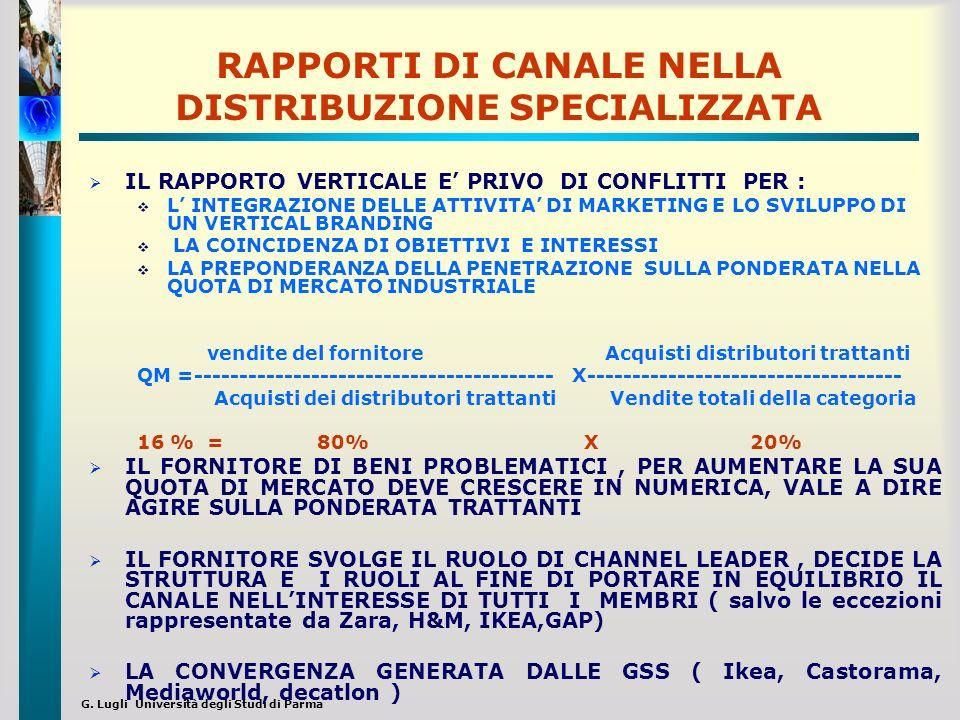 G. Lugli Università degli Studi di Parma RAPPORTI DI CANALE NELLA DISTRIBUZIONE SPECIALIZZATA IL RAPPORTO VERTICALE E PRIVO DI CONFLITTI PER : L INTEG