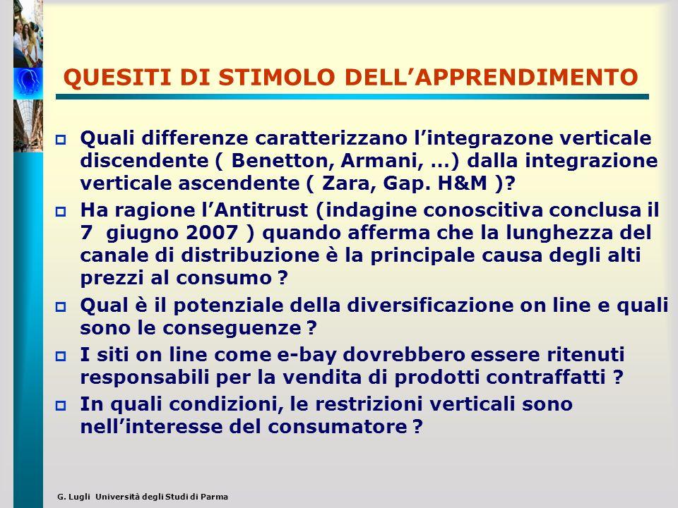 G. Lugli Università degli Studi di Parma QUESITI DI STIMOLO DELLAPPRENDIMENTO Quali differenze caratterizzano lintegrazone verticale discendente ( Ben
