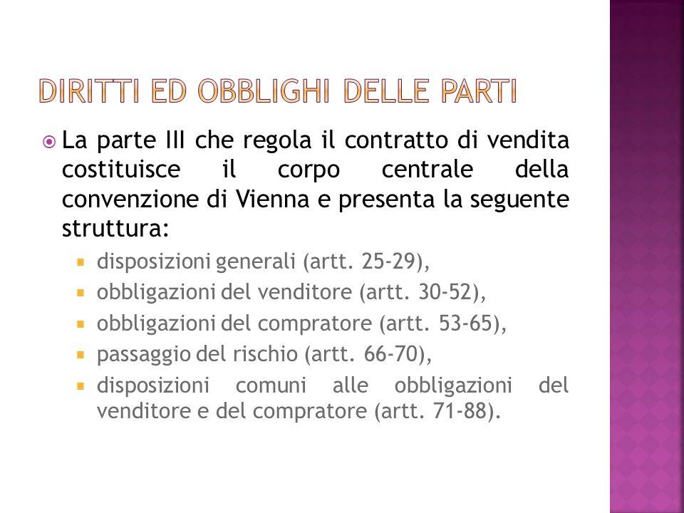 La parte III che regola il contratto di vendita costituisce il corpo centrale della convenzione di Vienna e presenta la seguente struttura: disposizioni generali (artt.