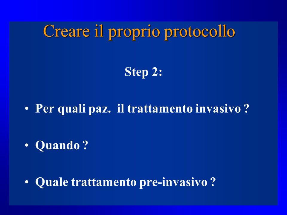 Creare il proprio protocollo Step 2: Per quali paz. il trattamento invasivo ? Quando ? Quale trattamento pre-invasivo ?