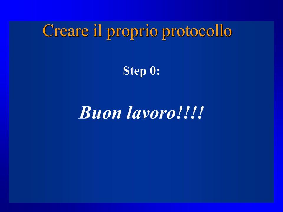 Creare il proprio protocollo Step 0: Buon lavoro!!!!
