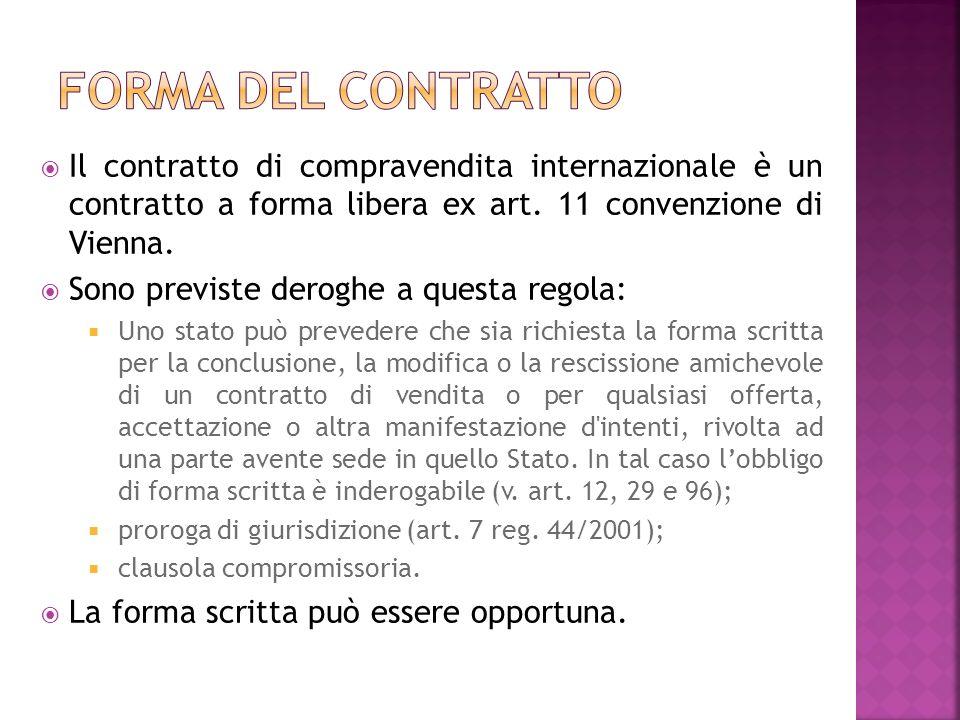 Il contratto di compravendita internazionale è un contratto a forma libera ex art.