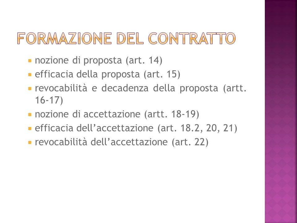 nozione di proposta (art. 14) efficacia della proposta (art.