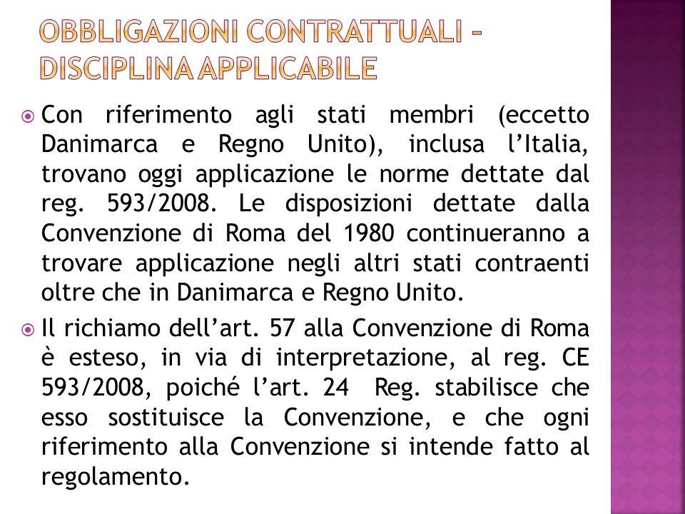 Lart.57 prevede che il rinvio alla Convenzione di Roma del 1980 opera in ogni caso.