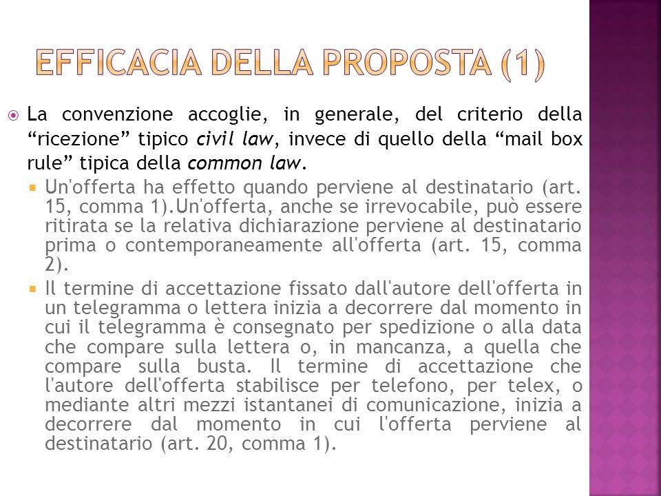 La convenzione accoglie, in generale, del criterio della ricezione tipico civil law, invece di quello della mail box rule tipica della common law.