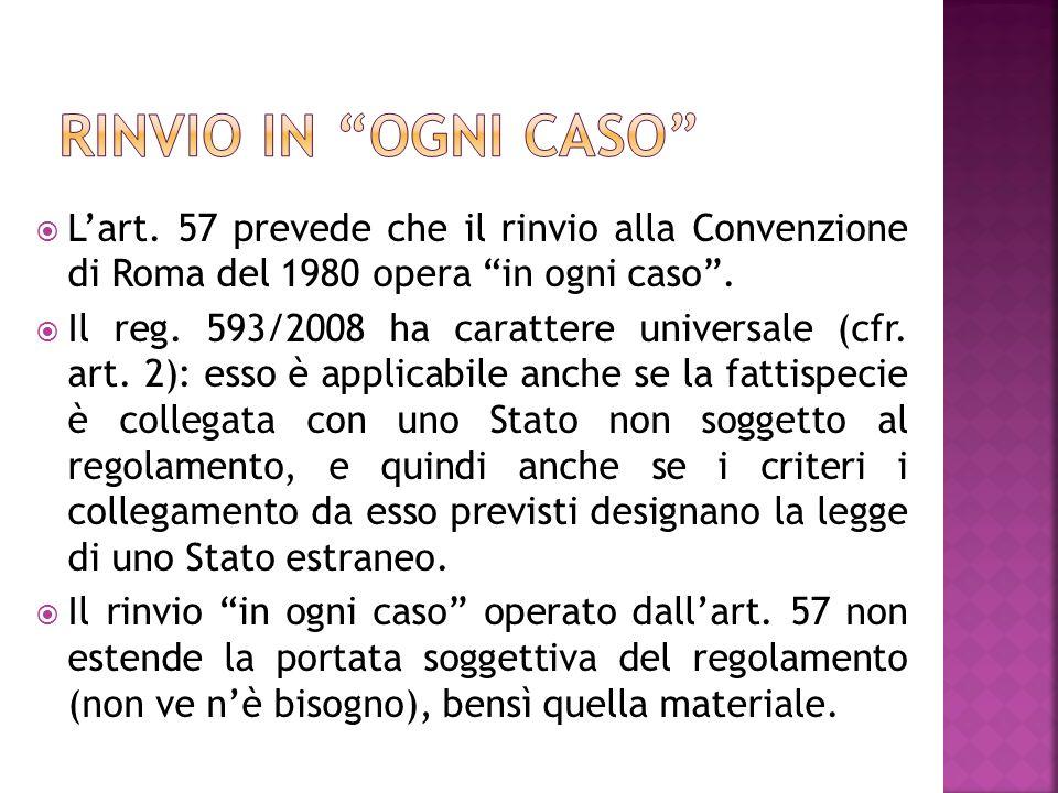 Lart. 57 prevede che il rinvio alla Convenzione di Roma del 1980 opera in ogni caso.