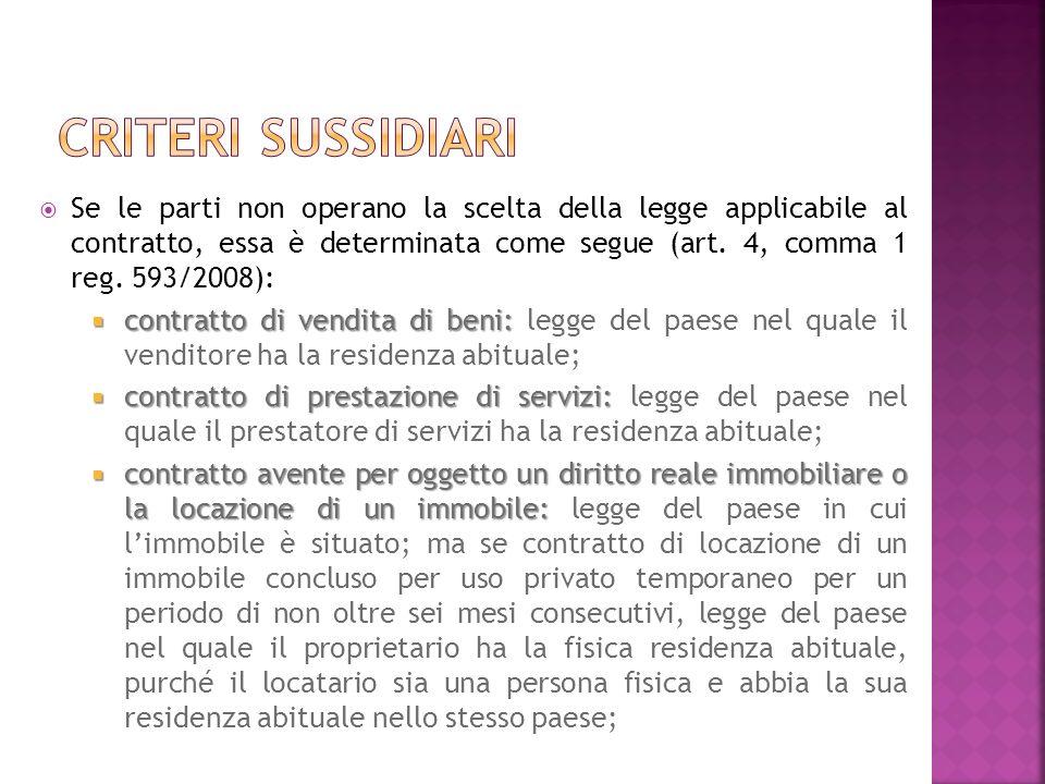 Se le parti non operano la scelta della legge applicabile al contratto, essa è determinata come segue (art.