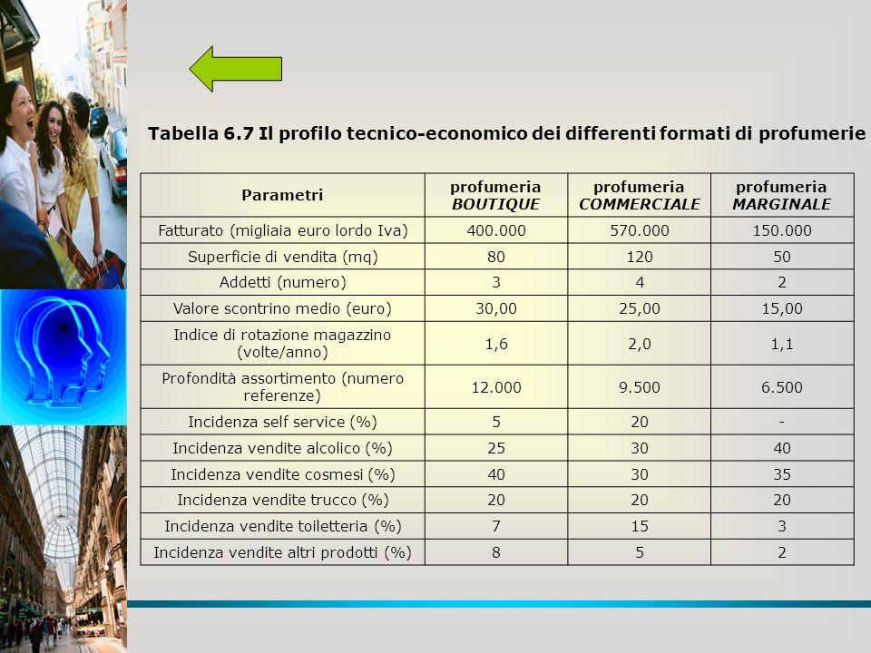 Tabella 6.7 Il profilo tecnico-economico dei differenti formati di profumerie Parametri profumeria BOUTIQUE profumeria COMMERCIALE profumeria MARGINALE Fatturato (migliaia euro lordo Iva)400.000570.000150.000 Superficie di vendita (mq)8012050 Addetti (numero)342 Valore scontrino medio (euro)30,0025,0015,00 Indice di rotazione magazzino (volte/anno) 1,62,01,1 Profondità assortimento (numero referenze) 12.0009.5006.500 Incidenza self service (%)520- Incidenza vendite alcolico (%)253040 Incidenza vendite cosmesi (%)403035 Incidenza vendite trucco (%)20 Incidenza vendite toiletteria (%)7153 Incidenza vendite altri prodotti (%)852
