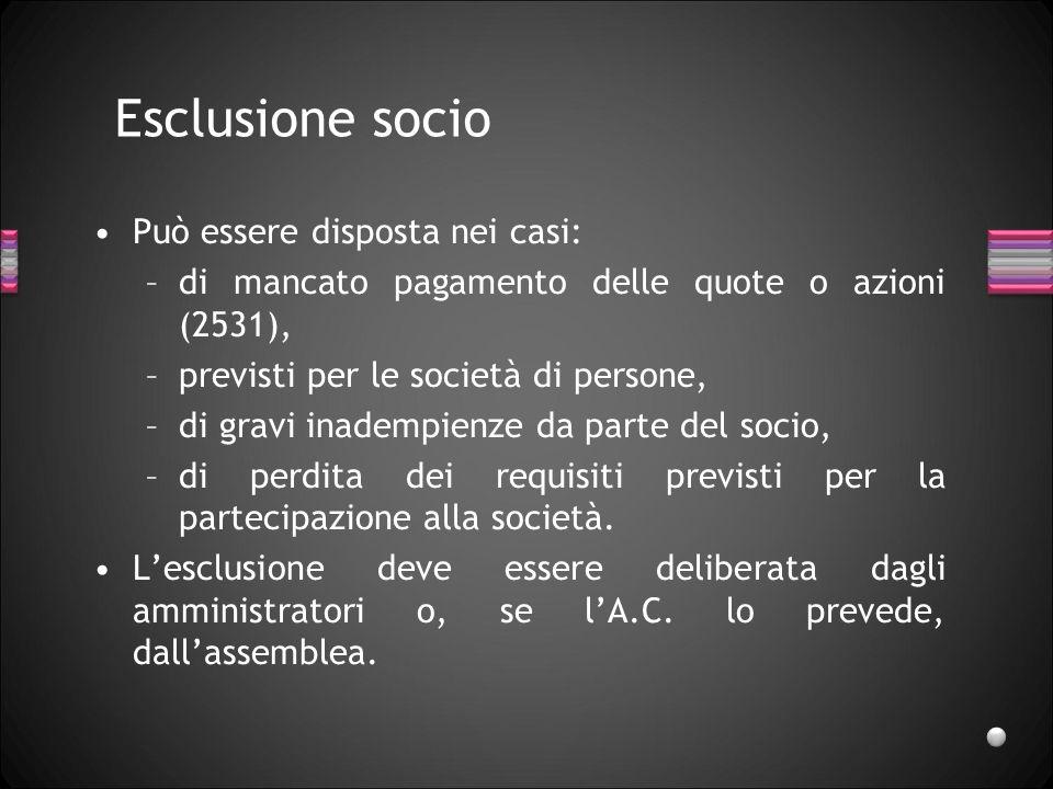 Esclusione socio Può essere disposta nei casi: –di mancato pagamento delle quote o azioni (2531), –previsti per le società di persone, –di gravi inade
