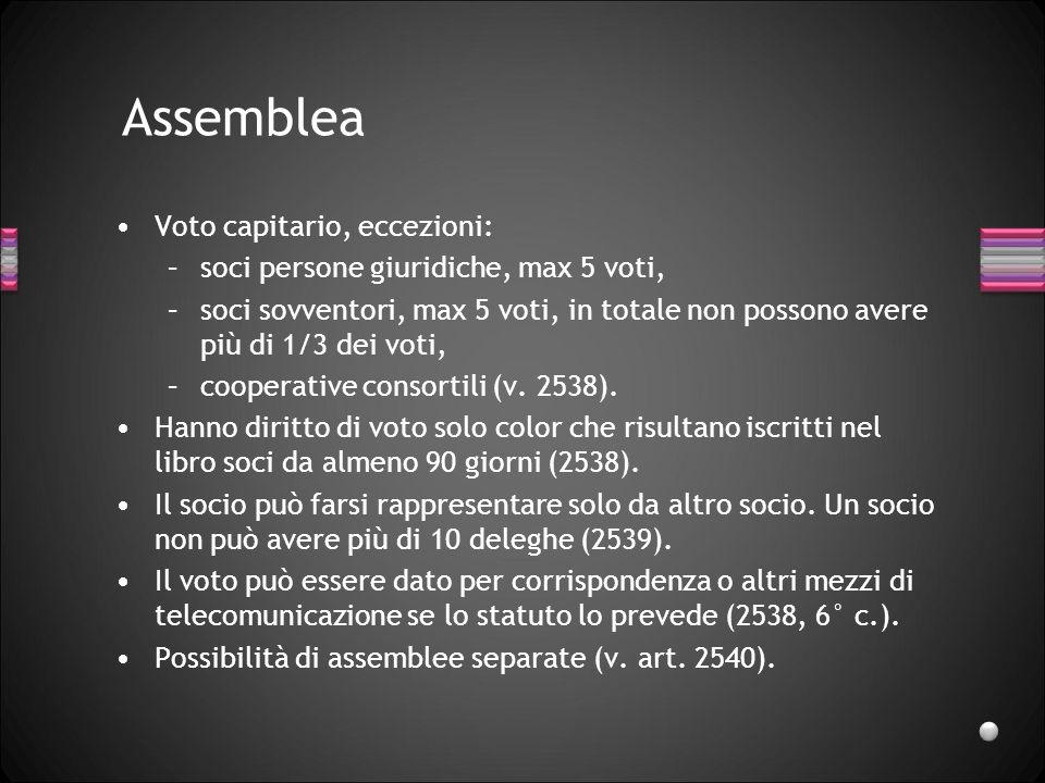 Assemblea Voto capitario, eccezioni: –soci persone giuridiche, max 5 voti, –soci sovventori, max 5 voti, in totale non possono avere più di 1/3 dei vo
