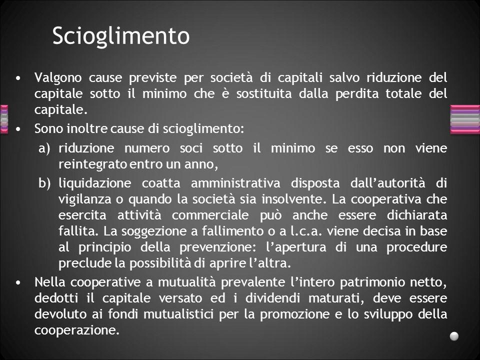 Scioglimento Valgono cause previste per società di capitali salvo riduzione del capitale sotto il minimo che è sostituita dalla perdita totale del cap