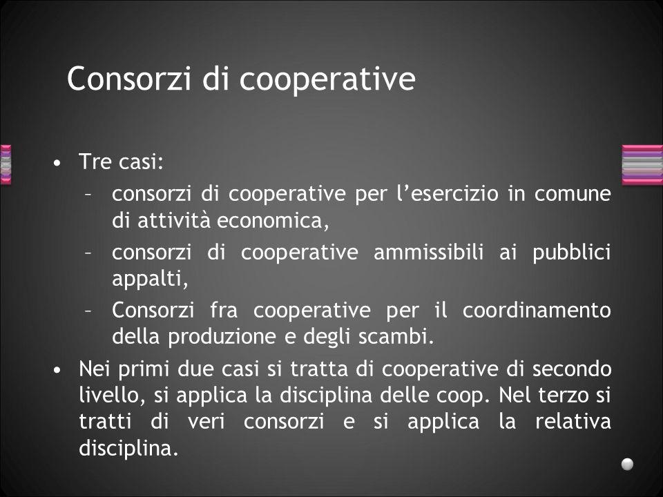 Consorzi di cooperative Tre casi: –consorzi di cooperative per lesercizio in comune di attività economica, –consorzi di cooperative ammissibili ai pub