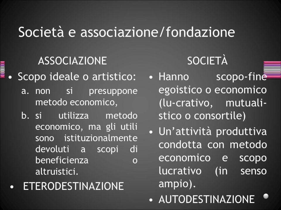 Società e associazione/fondazione ASSOCIAZIONE Scopo ideale o artistico: a.non si presuppone metodo economico, b.si utilizza metodo economico, ma gli