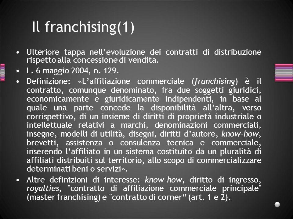 Il franchising(1) Ulteriore tappa nellevoluzione dei contratti di distribuzione rispetto alla concessione di vendita. L. 6 maggio 2004, n. 129. Defini