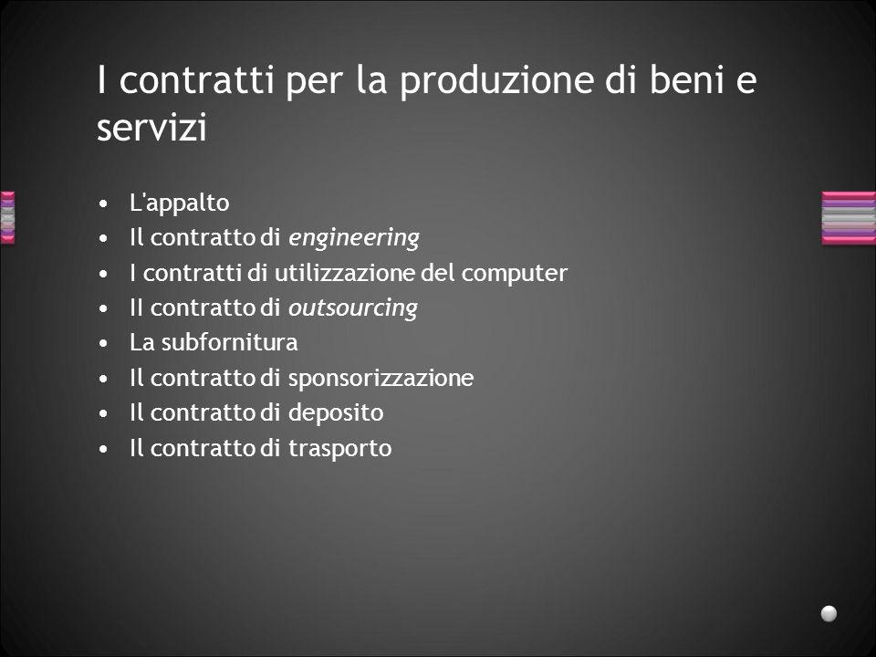 I contratti per la produzione di beni e servizi L'appalto Il contratto di engineering I contratti di utilizzazione del computer II contratto di outsou