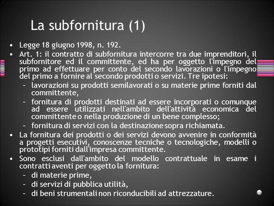 La subfornitura (1) Legge 18 giugno 1998, n. 192. Art. 1: il contratto di subfornitura intercorre tra due imprenditori, il subfornitore ed il committe