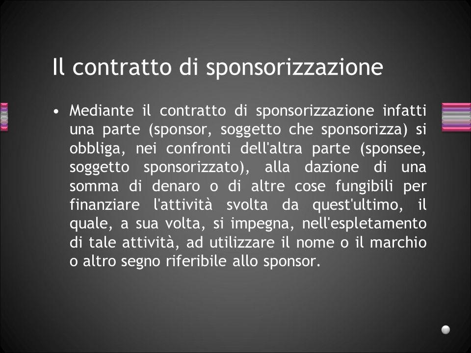 Il contratto di sponsorizzazione Mediante il contratto di sponsorizzazione infatti una parte (sponsor, soggetto che sponsorizza) si obbliga, nei confr