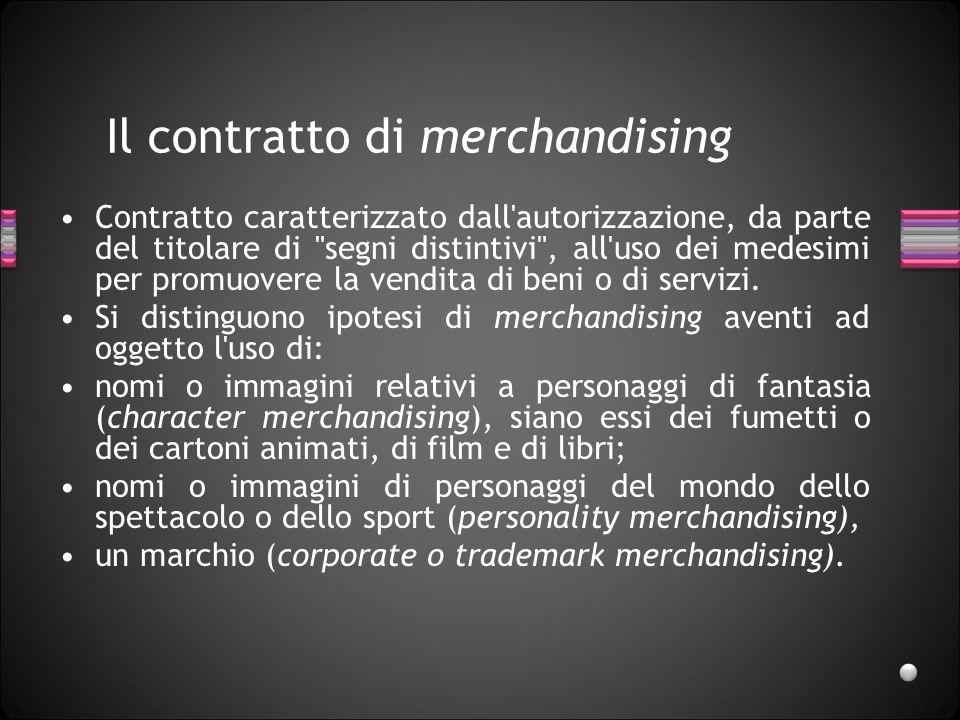 Il contratto di merchandising Contratto caratterizzato dall'autorizzazione, da parte del titolare di