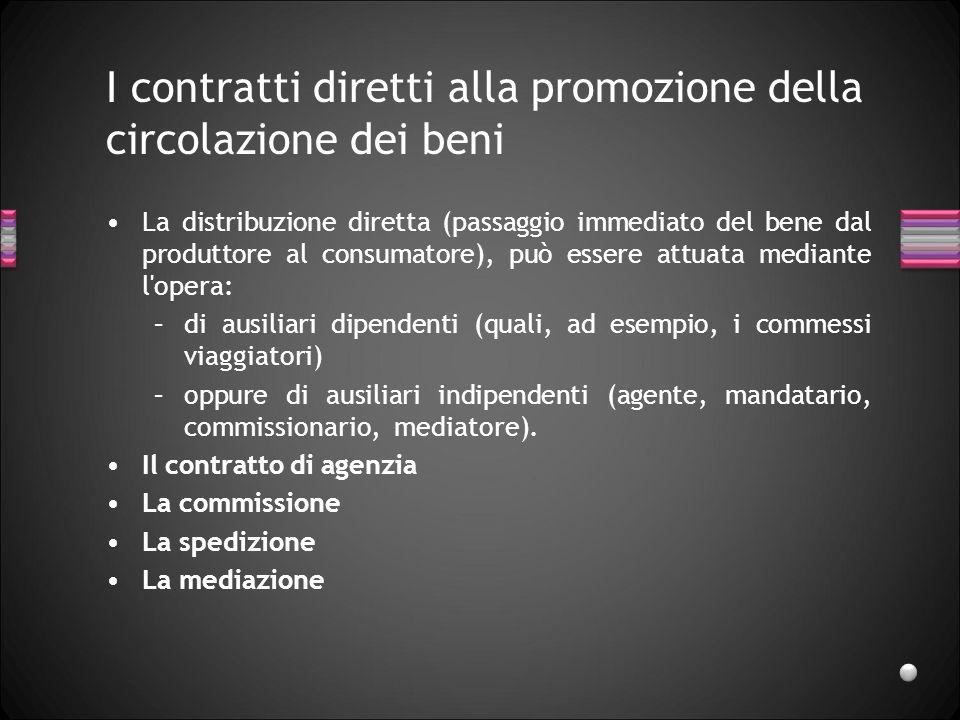 I contratti diretti alla promozione della circolazione dei beni La distribuzione diretta (passaggio immediato del bene dal produttore al consumatore),