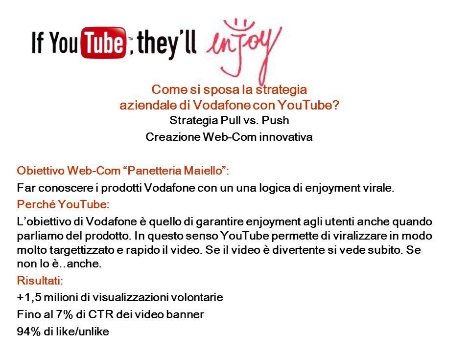 Come si sposa la strategia aziendale di Vodafone con YouTube? Strategia Pull vs. Push Creazione Web-Com innovativa Obiettivo Web-Com Panetteria Maiell