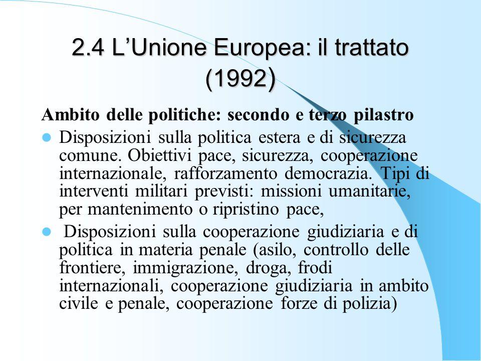 2.4 LUnione Europea: il trattato (1992 ) Ambito delle politiche: secondo e terzo pilastro Disposizioni sulla politica estera e di sicurezza comune.