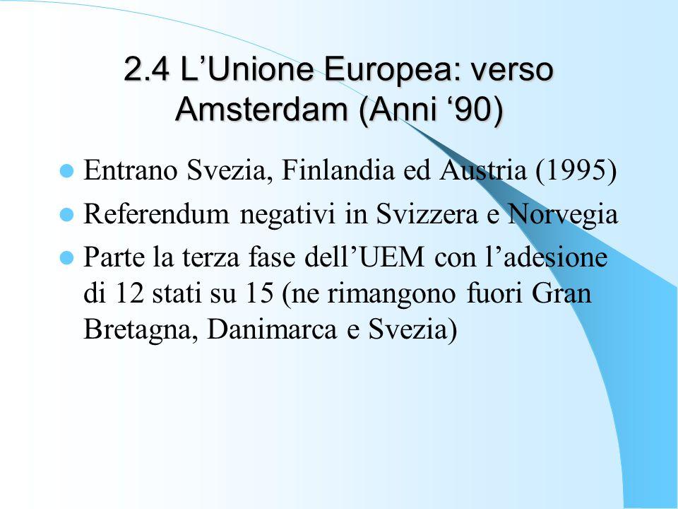 2.4 LUnione Europea: verso Amsterdam (Anni 90) Entrano Svezia, Finlandia ed Austria (1995) Referendum negativi in Svizzera e Norvegia Parte la terza fase dellUEM con ladesione di 12 stati su 15 (ne rimangono fuori Gran Bretagna, Danimarca e Svezia)