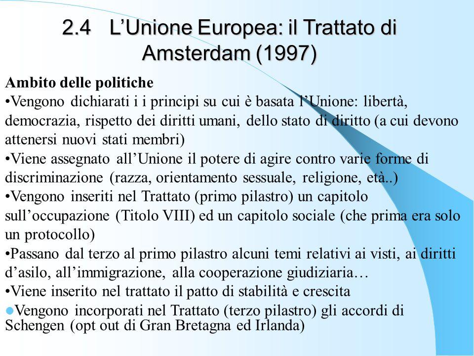 2.4LUnione Europea: il Trattato di Amsterdam (1997) Ambito delle politiche Vengono dichiarati i i principi su cui è basata lUnione: libertà, democrazi