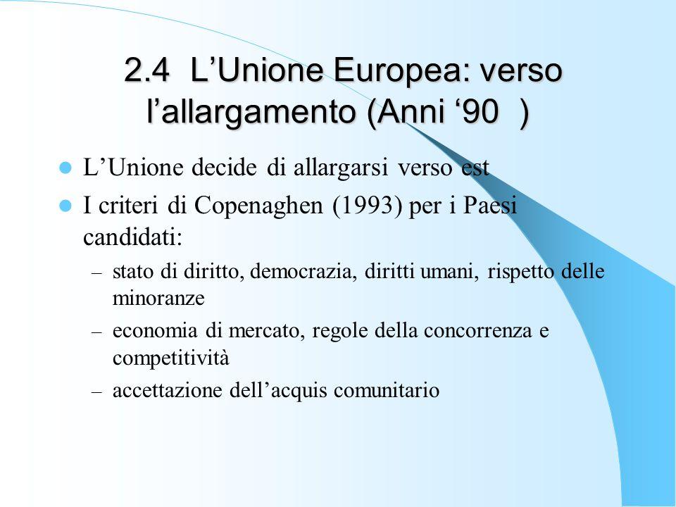 2.4 LUnione Europea: verso lallargamento (Anni 90 ) 2.4 LUnione Europea: verso lallargamento (Anni 90 ) LUnione decide di allargarsi verso est I crite