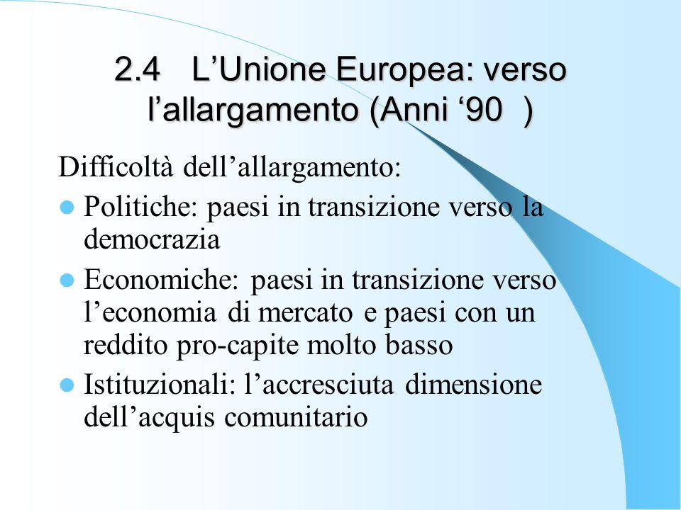 2.4 LUnione Europea: verso lallargamento (Anni 90 ) Difficoltà dellallargamento: Politiche: paesi in transizione verso la democrazia Economiche: paesi