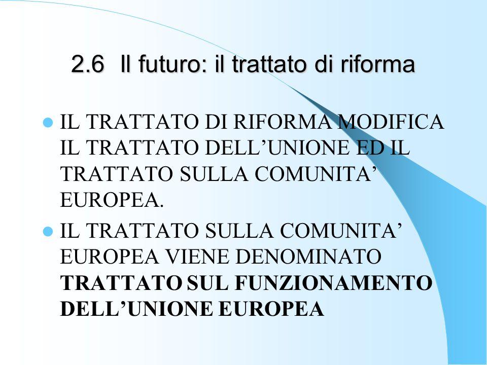 2.6Il futuro: il trattato di riforma IL TRATTATO DI RIFORMA MODIFICA IL TRATTATO DELLUNIONE ED IL TRATTATO SULLA COMUNITA EUROPEA.