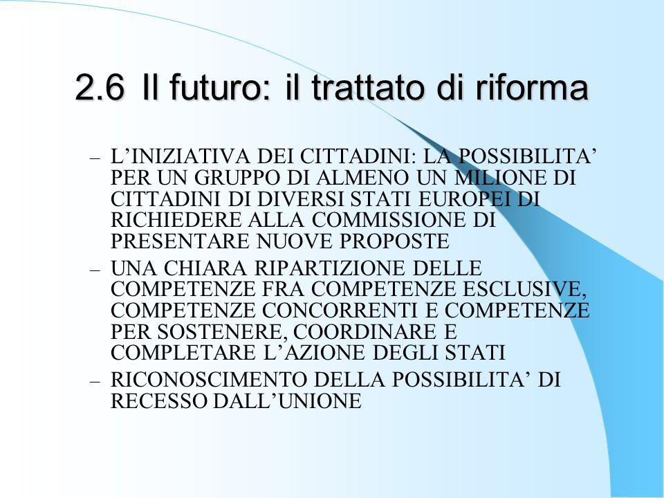 2.6Il futuro: il trattato di riforma – LINIZIATIVA DEI CITTADINI: LA POSSIBILITA PER UN GRUPPO DI ALMENO UN MILIONE DI CITTADINI DI DIVERSI STATI EUROPEI DI RICHIEDERE ALLA COMMISSIONE DI PRESENTARE NUOVE PROPOSTE – UNA CHIARA RIPARTIZIONE DELLE COMPETENZE FRA COMPETENZE ESCLUSIVE, COMPETENZE CONCORRENTI E COMPETENZE PER SOSTENERE, COORDINARE E COMPLETARE LAZIONE DEGLI STATI – RICONOSCIMENTO DELLA POSSIBILITA DI RECESSO DALLUNIONE